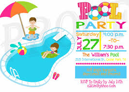fun and happy pool party invitation card idea for kids designed by