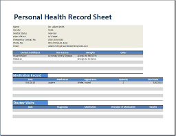 personal medical health record worksheet template word u0026 excel