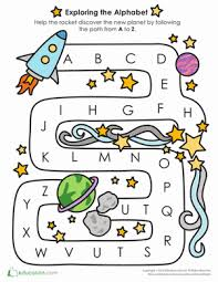 alphabet learning follow the a to z path worksheet education com