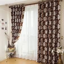 Brown Floral Curtains Luxury Polyester Fabric Gold Curtains In Living Room