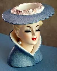 vintage 1959 napco beautiful lady headvase pearls u0026 large hat