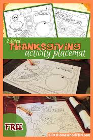thanksgiving activity placemat u0026 coloring thanksgiving