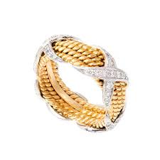 diamond x ring and co schlumberger 4 row diamond x ring at 1stdibs