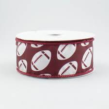 football ribbon 1 5 diagonal dotted football ribbon burgundy white 10 yards