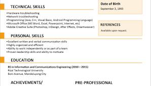 Sample Resume For A Fresh Graduate by Sample Resume Format For Fresh Graduates Curriculum Vitae Sample