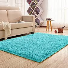 Teal Shag Area Rug Amazon Com Dense Pile Soft Teal Blue Shaggy Shag Area Rug 2 U0027 X 3