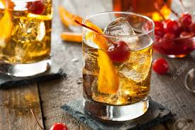old fashioned cocktail illustration homemade old fashioned cocktail with cherries and orange peel