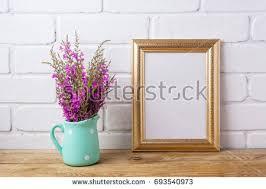 Mint Green Vase Black Brown Frame Mockup Maroon Purple Stock Photo 693540964