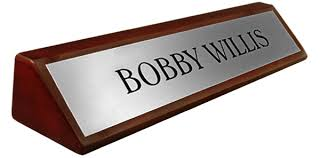 Personalized Desk Name Plates Rosewood Piano Finish Desk Name Plate Metal Brushed Silver