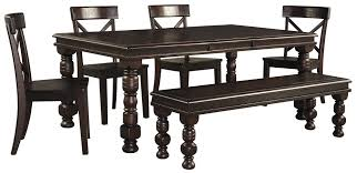 Piece Solid Pine Dining Table Set With Bench By Signature Design - Ashley furniture dining table bench