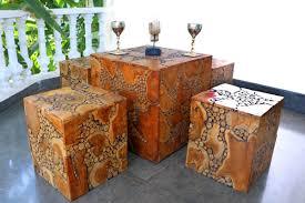 teak wood log centar table with 4 stools nostalgia lifestyle