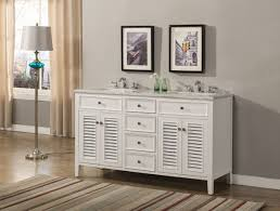 60 inch white double sink bathroom vanity beach style carrara