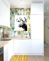 bold kitchen with geometric wallpaper borders country modern
