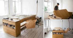 Office Desk Space Space Saving Idea A Desk That Transforms Into A Bed Home Design