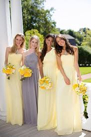 yellow dresses for weddings picture of pastel yellow bridesmaids dresses and a grey dress for