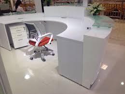Reception Counter Desk High Quality Semi Circle Half Exhibition Glass Top Reception