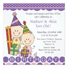 twins first birthday invitations u0026 announcements zazzle