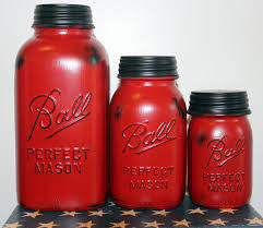 Kitchen Canisters 3 Piece Red Mason Jar Canister Set Kitchen Distressed Half