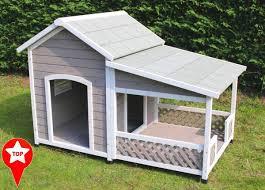 modele de terrasse couverte niche en bois avec terrasse pour grand chien zolia falco niche