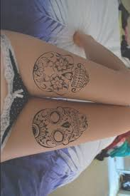 simple skull on leg tattoomagz