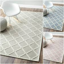 Pink And White Rug Handmade Abstract Fancy Trellis Wool Rug In Blue And White And