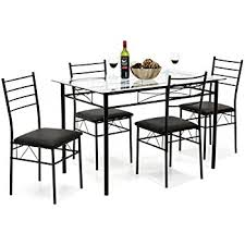 Black Glass Dining Table And 4 Chairs Vecelo Dining Table With 4 Chairs Black Table