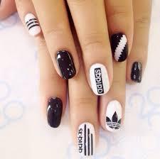 30 super creative black and white nail art designs adidas white