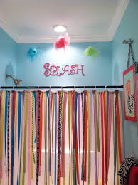 Shower Curtains With Fish Theme Ribbon Shower Curtain Glitter Wall Paint In Little Girls Bathroom