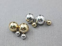 front and back gold and silver color metal balls ear jacket si
