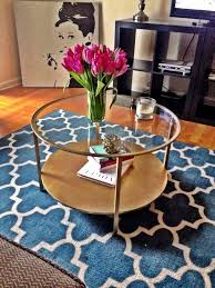 contemporary blue moroccan area rug under two storey ikea round