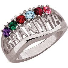 grandmother rings personalized birthstone silver tone or 14kt gold tone