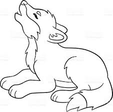 coloring pages cute baby wolf howls stock vector art