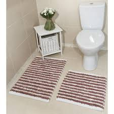 pink striped cotton bath mats pom pom kukoon
