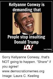 Funny Insulting Memes - kellyanne conway is demanding that people stop insulting donald