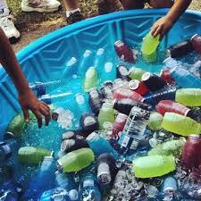 drinks in kiddy pool allows guests to see a variety of easily