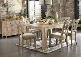 Dining Room Table Sets For 6 Above Beyond Furniture Mestler Washed Brown Rectangular Dining