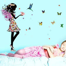online get cheap fairy wall mural aliexpress com alibaba group diy wall stickers fairies girl elves butterfly flo