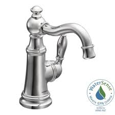 moen weymouth single hole 1 handle high arc bathroom faucet in