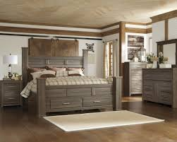 4pc poster storage bedroom set in brown
