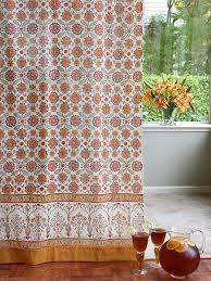 Sheer Curtains Orange Saffron Marigold Curtains Obl Floral Vintage Orange Yellow