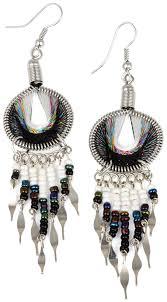 black dangle earrings stainless steel peruvian black white silk thread beaded dangle