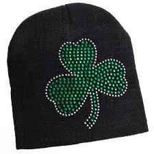 amazon com st patricks day black knit beanie hat with green