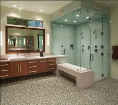 modern bathroom with glass shower tiles and modern fixtures