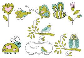 Flower And Bird - insect flower and bird vectors free vector