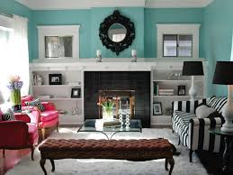 Home Decor Turquoise And Brown Bookcases Around Fireplace Room Design Decor Top And Bookcases