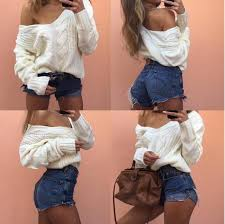 oversized shoulder sweater fashion v neck white oversized knitted shoulder