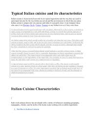 cuisine characteristics typical cuisine and its characteristics cuisine