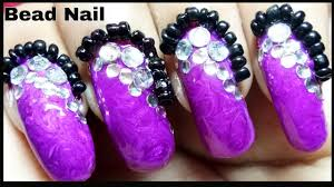 nails design with bead and stone how to put caviar beads on