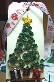2014 quilling christmas tree paper craft card with ribbon gift