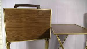 set 4 vintage 70 u0027s retro brown wood tv tray tables w cart youtube